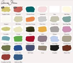 CHALK PAINT :: Annie Sloan Chalk Paint Color Card (this one has a pretty good representation of the colors...I'm trying to get a feel for the colors before I order the paint!)