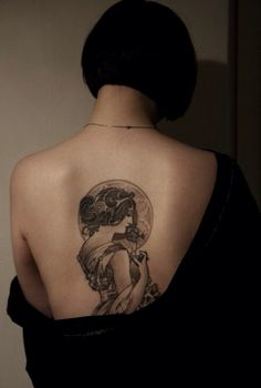 Nouveau Mucha tattoo piece by Electric Linda