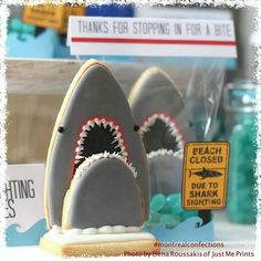 Shark Cookies for Shark Week on Discovery Channel...me and my son love it!