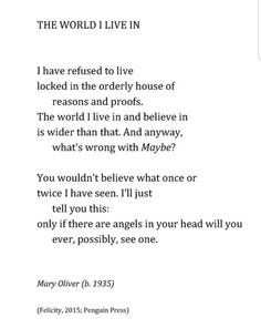 """The world I live in"", by Mary Oliver"
