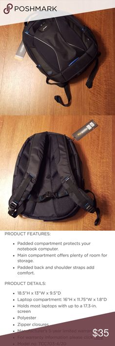 """Solo 17.3"""" Tech Backpack NWT black with blue trim laptop backpack by Solo. Product details are in pic #3. Pics 4 & 5 are from Kohl's website where backpack is currrntly selling for $80. solo Accessories Laptop Cases"""