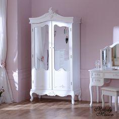 Antique White Mirrored Double Wardrobe - Pays Blanc Range