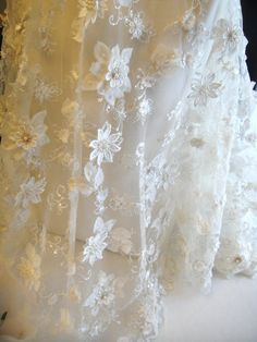 Ivory Lace with 3D Flowers Bridal Lace Ivory by Threads2Trends