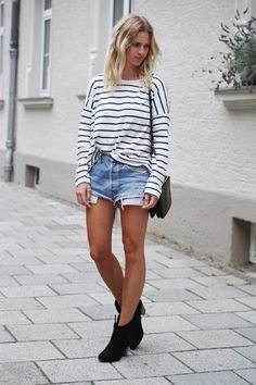 mija - she can do no wrong - stripes, black booties, jean cut-off shorts