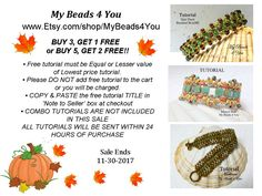 Get your #beads ready!! Create your own beaded jewelry with easy to follow step by step beading instructions. Buy 3 tutorials get 1 FREE  Buy 5 tutorials get 2 FREE #etsyhandmade #diy #etsy #craftshout #etsychachaing #etsyretwt #etsymntt