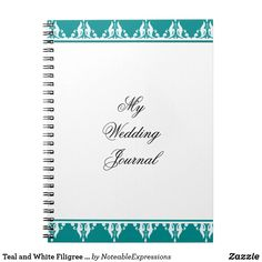 Teal and White Filigree Wedding Journal
