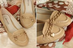 Cute beige ballet flats with gold heart chain decoration shoe coco from pinkified
