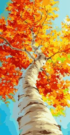 Paint by number kit Large wall art DIY Painting Tree in Orange Orange Painting, Autumn Painting, Autumn Art, Autumn Trees, Diy Painting, Tree Wall Art, Tree Art, Framed Wall Art, 3 Piece Canvas Art