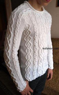 Мужской пуловер с арановым узором. Вязаный спицами