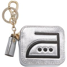 Anya Hindmarch Women's Iron Metallic Leather Coin Purse - Silver ($125) ❤ liked on Polyvore featuring bags, wallets, silver, white coin purse, metallic wallet, real leather wallets, change purse and white leather wallet