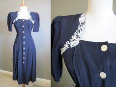 Lace Trim Dress Vintage Navy Blue 1980s by InTheHammockVintage, $20.00