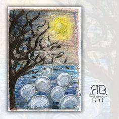 Anna Bernasconi Art / Tra Realtà e Fantasia / Riscoprire come si gioca / Pastelli a cera e acrilici su carta / Ispirazioni: luna, acqua, ghiaccio, bolle, rami, alberi, controluce, fotografie, illustrazioni