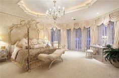 Beautiful bedroom ~ love the bed !