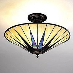 Interiors 1900 64043 Dark Star Semi Flush Tiffany Ceiling Light: Amazon.co.uk: Lighting