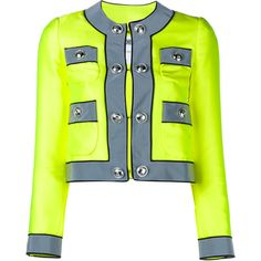 Moschino Embellished-Button Neon Jacket ($1,130) ❤ liked on Polyvore featuring outerwear, jackets, gray jacket, grey jacket, button jacket, embellished jacket and moschino jacket