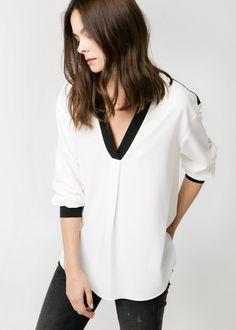 Contrast edge blouse