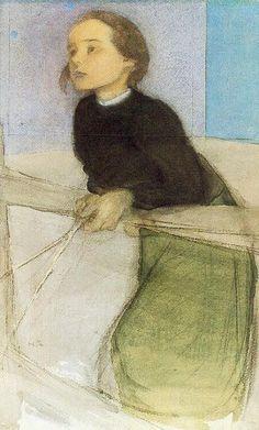 Portrait of a Girl - Helene Schjerfbeck Finnish Helene Schjerfbeck, Painting People, Figure Painting, Painting & Drawing, Figurative Kunst, Art Graphique, Portrait Art, Female Art, Art History