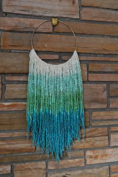 Sultry Boho Chic Hand-Dyed Green Ombre Natural by AstralRiles. #ombre #wallart #walldecor #fiberart #macrame #walltapestry #yarn #brasshoops #spring #homedecor #neon #handmade #handdyed #wool #etsy #astralriles #nurserydecor #bohochic #anthropologie #freepeople #bohemian #livingroom #bedroom #decor #homeaccessories #sexy #green #teal #turquoise #girlie #giftideas