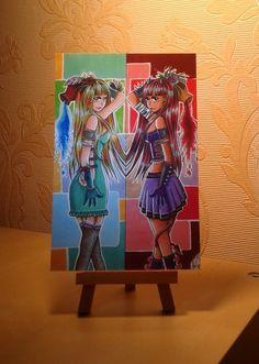 """Postkarte """"Gut und Böse"""" von Angelia Arts  auf DaWanda.com"""