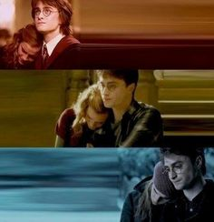 :*( harry is hermione's shoulder to cry on.such a good friend :).Ron,Hermione,Harry and us i.e the Potterheads-we make the greatest family in the world. Harry Potter Welt, Saga Harry Potter, Mundo Harry Potter, Harry Potter Love, Harry Potter Memes, Harmony Harry Potter, Potter Facts, Harry Y Hermione, Hermione Granger
