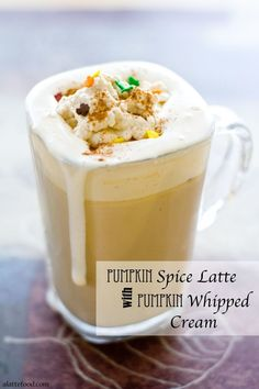 Pumpkin Spice Latte with Pumpkin Whipped Cream | The punch would be a great choice for any holiday party, because it's not too sweet, or too strong and it's so, so pretty! @ALatteFood