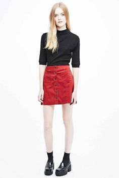 Cooperative A-Line Cord Skirt in Red
