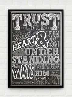 Inspirational, Printable Art, Download and Print JPEG Image - Trust in the Lord Christian Poster. $10.00, via Etsy.
