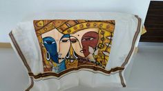 The portrait of Lord Krishna and Radha: Demi God forms   Shawl by Nimmy's Creations