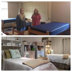 Before and After... Using Dorm Cubbies... Dorm Cubby has a website and a FB page... shelves fit over dorm beds and desks...