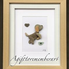 """""""Sold"""" """" this very unique pebble art has found its new home ❤️ #agifttorememberart #pebbleart #handmadewithlove #etsy #makersgonnamake #instaart #instagood #instaphoto #giftshop #puppy #dog #frame #roomdecor #doglover #stones #art #unique #australia #madebyme #madeinaustralia #beach #interiordesign #nature #recycledart"""