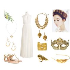 SNSD Jessica Inspired Outfit by nanrelladu on Polyvore featuring polyvore fashion style J.Crew Masquerade Ancient Greek Sandals Kenneth Jay Lane DOMINIQUE LUCAS Chen Fuchs Jewelry Joanna Cave Laurel Wreath Collection Hive & Honey outfit Inspired jessica Snsd greekstyle
