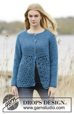 """Crochet DROPS jacket round yoke, double crochet and lace pattern, worked top down in """"Air"""". Size: S - XXXL. Free pattern by DROPS Design."""