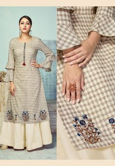 Buy Cream Heavy Party Wear Pure Handloom Readymade Kurti With Palazzo Sleeves Designs For Dresses, Dress Neck Designs, Blouse Designs, Western Lehenga, Kurta Neck Design, Embroidery Suits Design, Kurta Designs Women, Kurti Designs Party Wear, Indian Designer Outfits