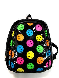90s Neon Multicolored Smiley Face Mini Backpack. $36.00, via Etsy.