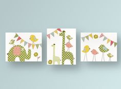 Nursery art, baby nursery decor, nursery wall art, bird, kids art, baby art, giraffe, elephant, Set of 3, 8x10 Prints -  Party Animals. $46.00, via Etsy.
