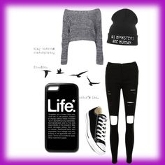 A fashion look from March 2015 featuring Boohoo sweaters and Converse sneakers. Browse and shop related looks.