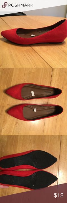 Red pointed flats Bright red faux suede flats. Mini wedge heel. Very comfortable. Great condition, only worn a few times. Has a few scuff marks on inside of right shoe, so it's barely noticeable. They could probably be removed, I just haven't tried. Merona Shoes Flats & Loafers