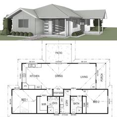 One of our favourite designs and part of our custom range, we introduce Feluga. A single-story home showcasing a gorgeous open kitchen, living, and dining area upon entry. Towards the back, the master bedroom features a walk-in robe and ensuite, with the second bedroom including a built-in robe and positioned near the second bathroom. Felgua also includes an internal laundry, study nook, and a porch and deck we know you'll enjoy relaxing on. 2 Bedroom House Design, Two Bedroom, Master Bedroom, Single Story Homes, Walk In Robe, Study Nook, Kit Homes, Open Kitchen, Dining Area