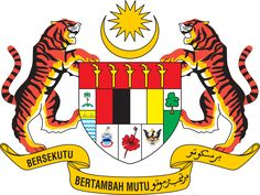 Shield showing symbols of the Malaysian states with a star and crescent above it and a motto below it supported by two tigers