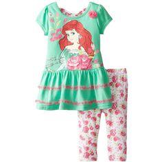 Disney Girls' 2 Piece Princess Ariel Legging Set (73 BRL) ❤ liked on Polyvore featuring kids