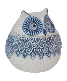 Blue & White Owl Jar