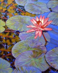 ... Pads painting - John Lautermilch Pink Lily with Silver Pads Art Print