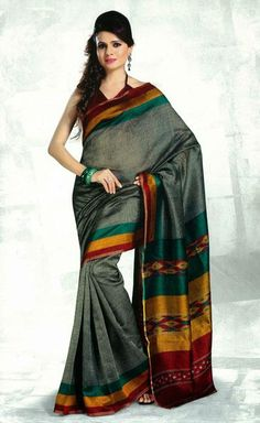 USD 38.17 Grey Silk Printed Party Wear Saree   37115