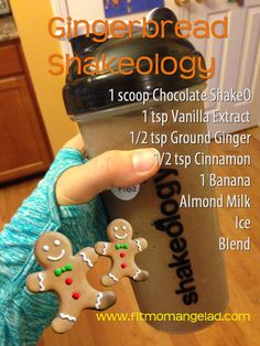 Gingerbread Man Shakeology Recipe  Healthiest meal of the day and this one feels like a cheat meal!  Definitely satisfies my sweet tooth!  www.fitmomangelad.com