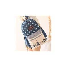Print Canvas Backpack ($29) ❤ liked on Polyvore featuring bags, backpacks, accessories, canvas bag, rucksack bag, print bags, polka dot backpack and print backpacks