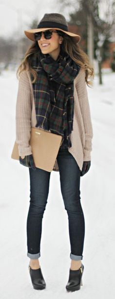 #winter #fashion / tartan scarf + beige