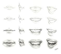 Delineate Your Lips image Tutorials on mouths, noses, eyes and hair - How to draw lips correctly? The first thing to keep in mind is the shape of your lips: if they are thin or thick and if you have the M (or heart) pronounced or barely suggested. Drawing Skills, Drawing Lessons, Drawing Techniques, Drawing Tutorials, Drawing Tips, Figure Drawing, Art Tutorials, Drawing Sketches, Pencil Drawings