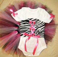 Baby Zebra Corset Onesie and Tutu - Great for Newborn Photos and First Birthdays  NB-24 mths. $44.99, via Etsy.
