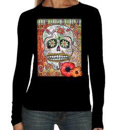 Velocitee Ladies Long Sleeve T-Shirt Love Sugar Tattoo Skull Muertos Dead A19992 #Velocitee