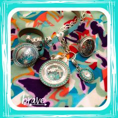 The vibrant colors of spring jewelry by Origami Owl and Randy by Lularoe. Heirloom ring, Aqua twist face locket, love slider, March Hostess Exclusive leather wrap from Origami Owl. www.nancypye.origamiowl.com